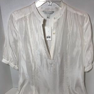 Banana Republic Sheer White Silk Blouse size small